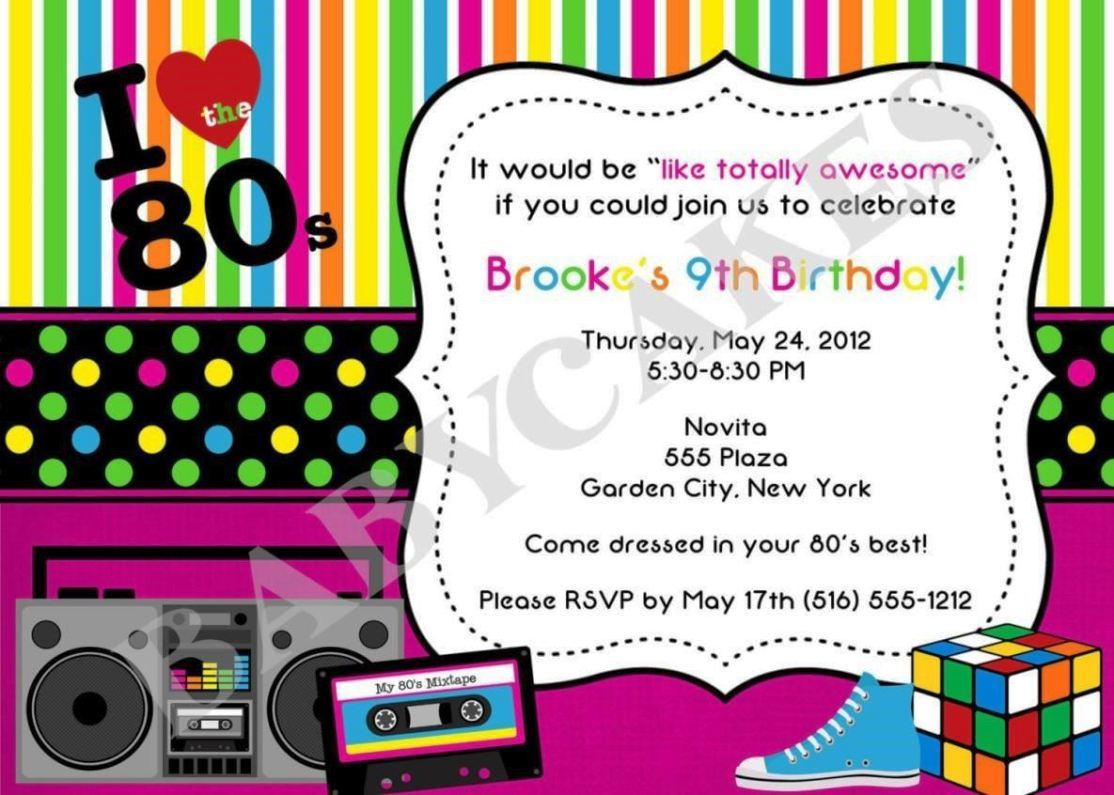 80S Party Invitations Template Free SampleTemplatess