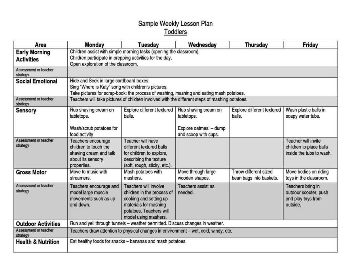 After School Lesson Plan Template SampleTemplatess - After school lesson plan template