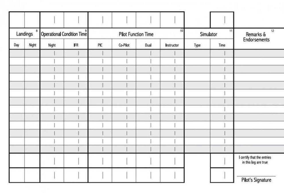 aircraft log book template