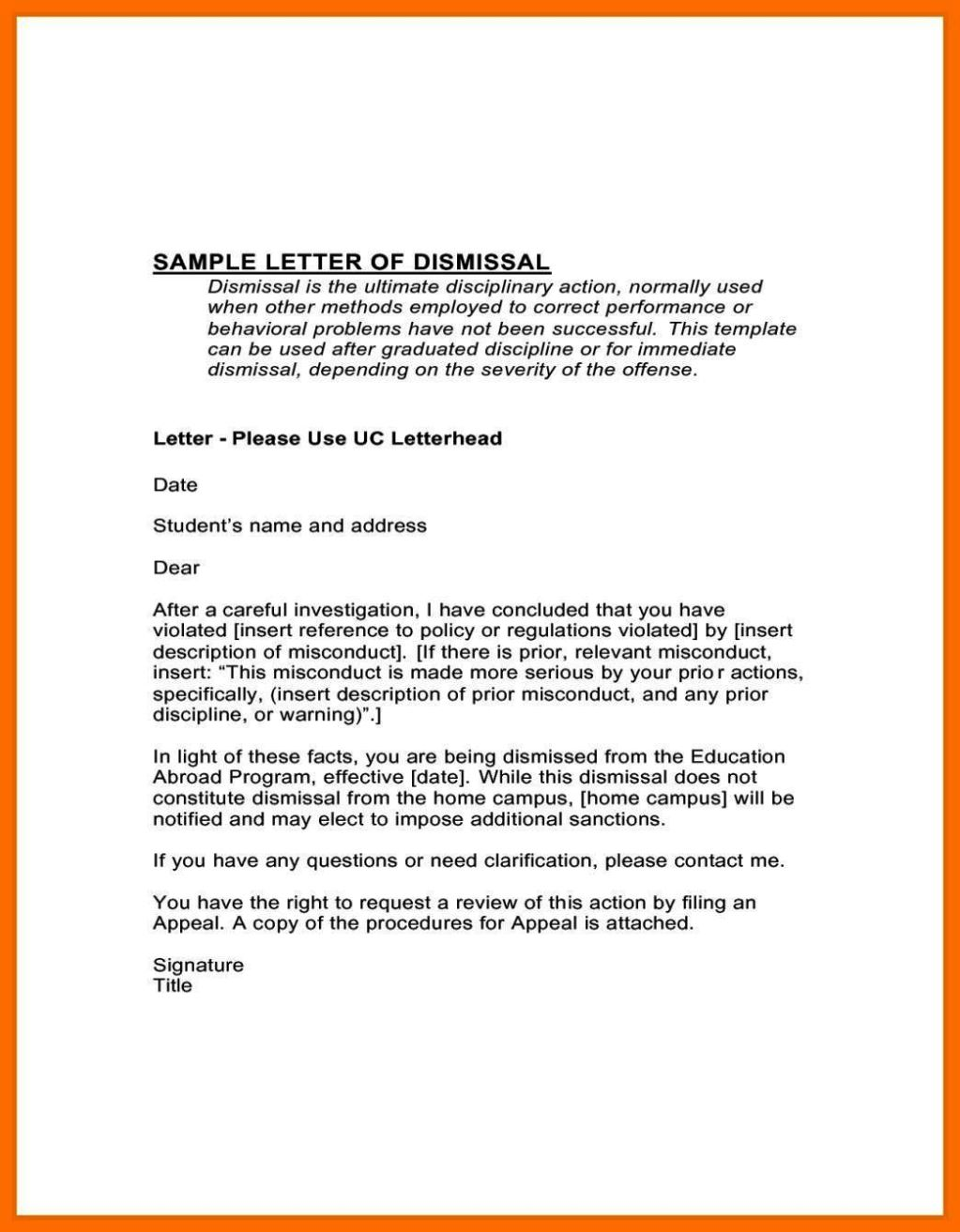 how to write an appeal letter for dismissal from work