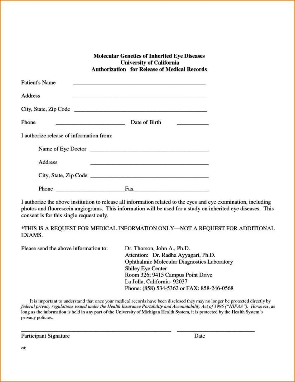 Authorization to release medical records form template for Medication consent form template