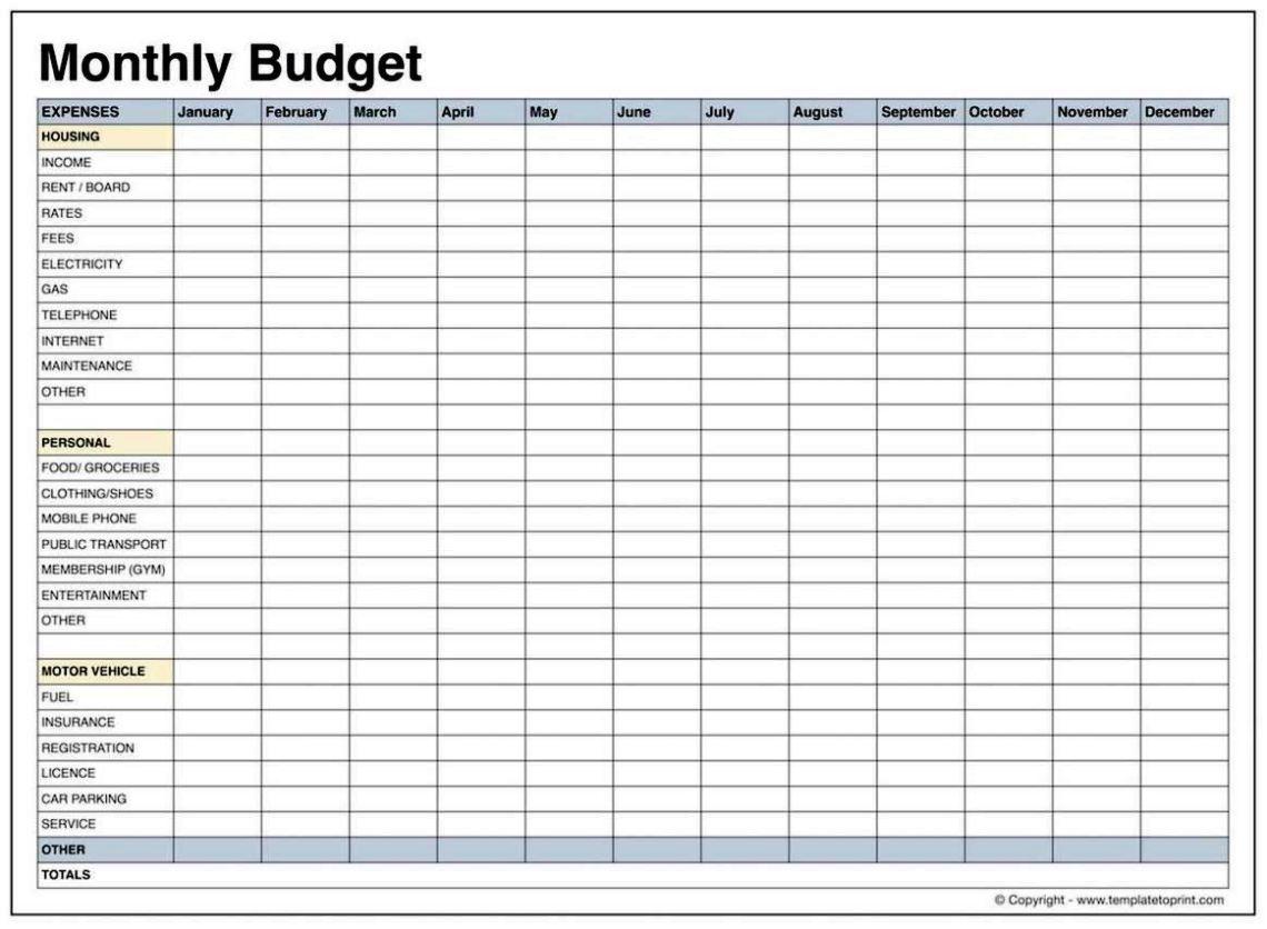 Blank Budget Templates - SampleTemplatess - SampleTemplatess