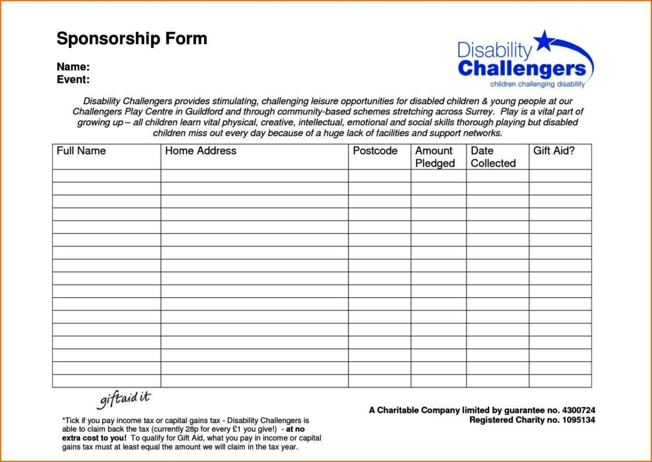 Blank sponsor form template sampletemplatess for Sponsor application template
