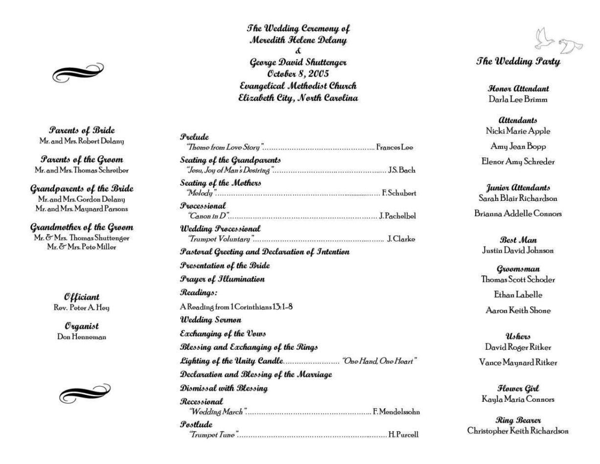 Catholic Wedding Order Of Service Template - SampleTemplatess - SampleTemplatess