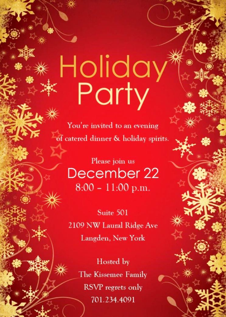 Christmas Party Invitations Templates Free Download ...
