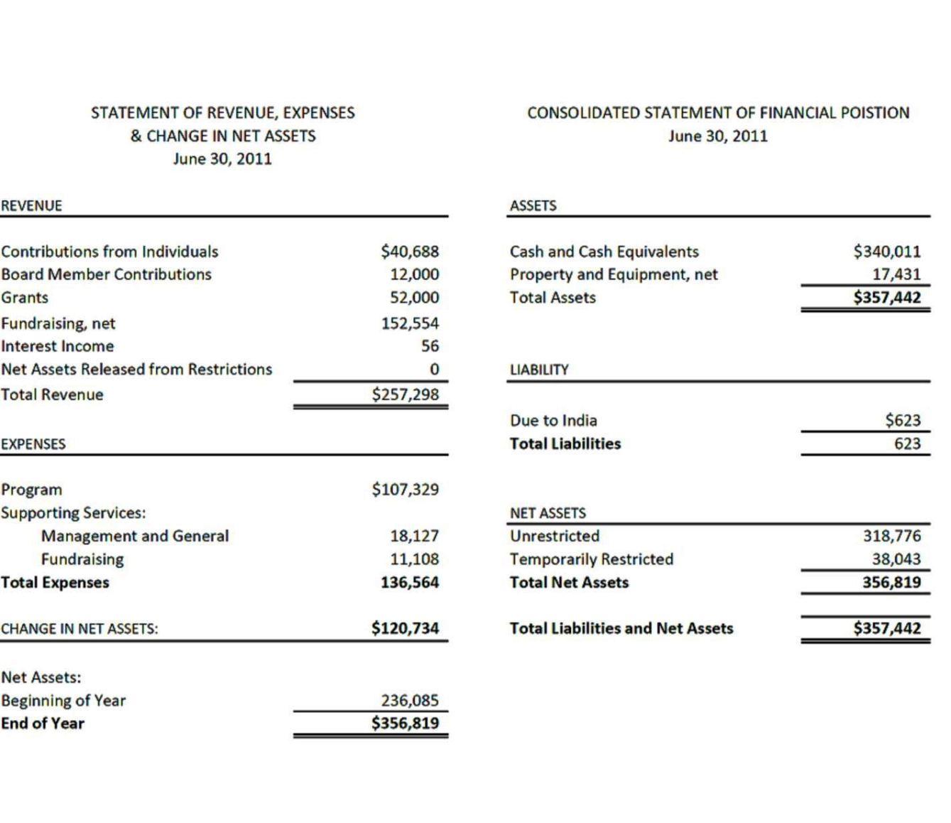 church financial report template