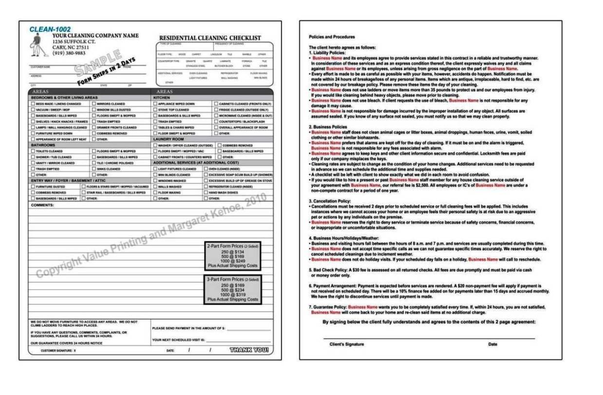 Cleaning Service Forms Templates - SampleTemplatess - SampleTemplatess