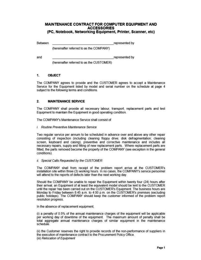 Computer maintenance contract template sampletemplatess for Computer repair service agreement template