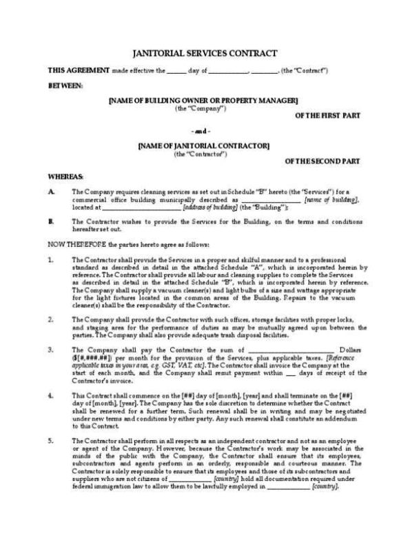 Contract for janitorial services template for Cleaning service contracts templates
