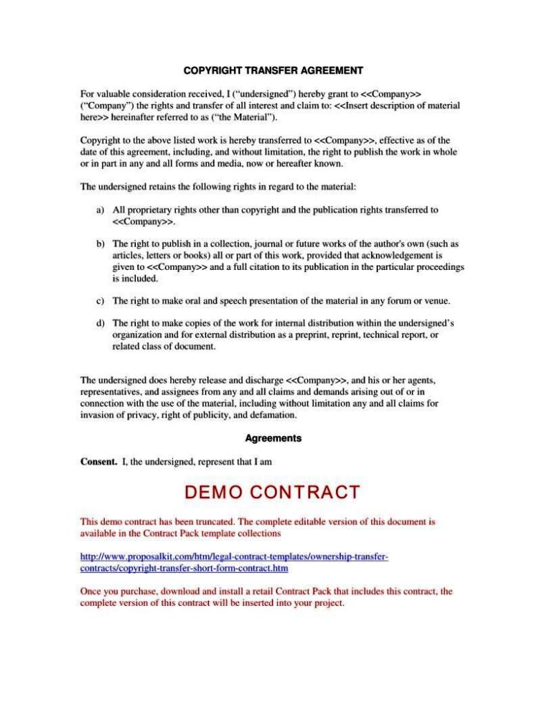 Copyright contract template free sampletemplatess for Copyright contract template free