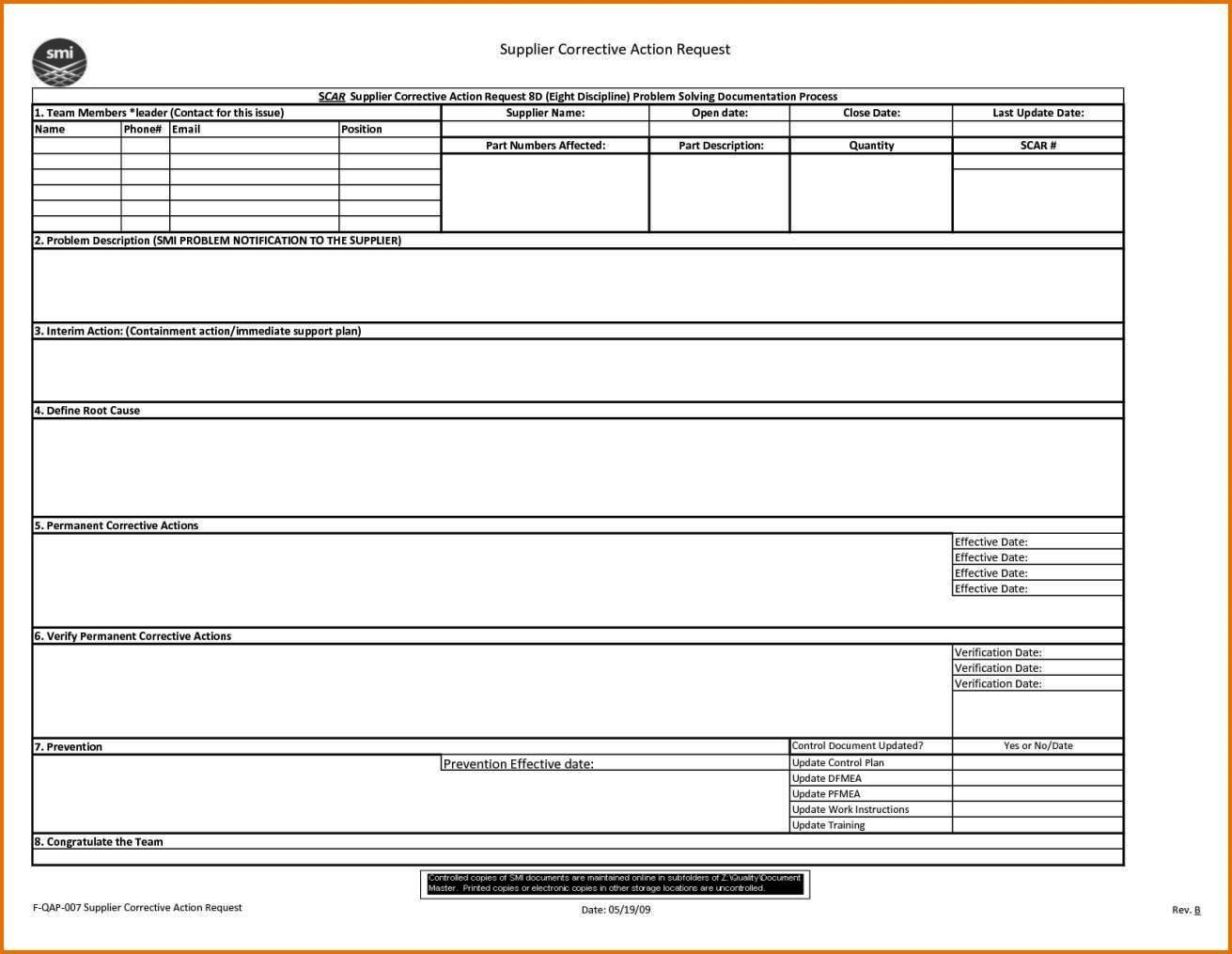 Corrective and preventive action form template for Preventive action plan template