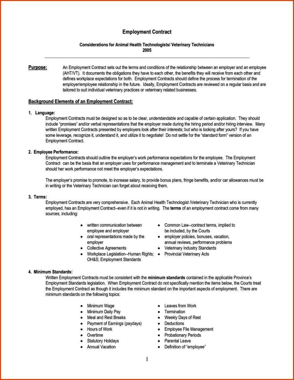 employee agreement is a contract between an employer and employee ...