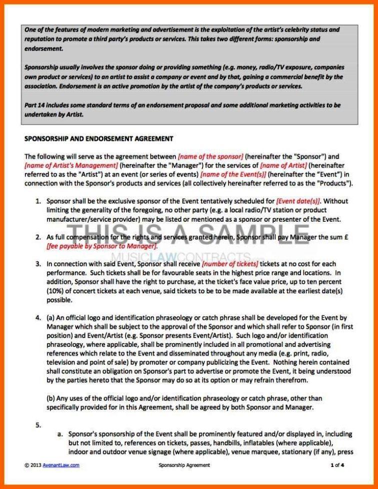 endorsement contract template sampletemplatess. Black Bedroom Furniture Sets. Home Design Ideas