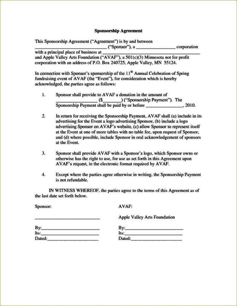 Event Sponsorship Agreement Template Sampletemplatess