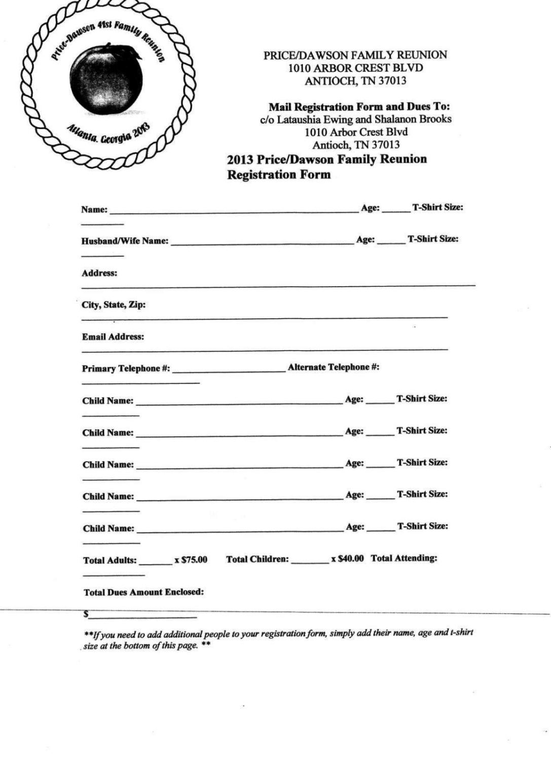 family reunion letter template