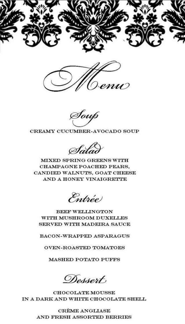 formal dinner menu template sampletemplatess