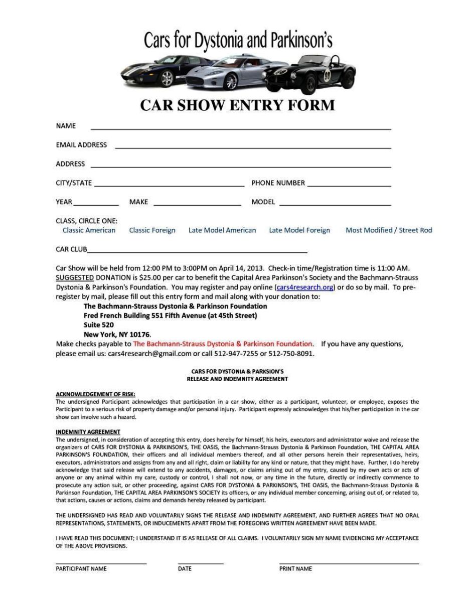 free car show registration form template