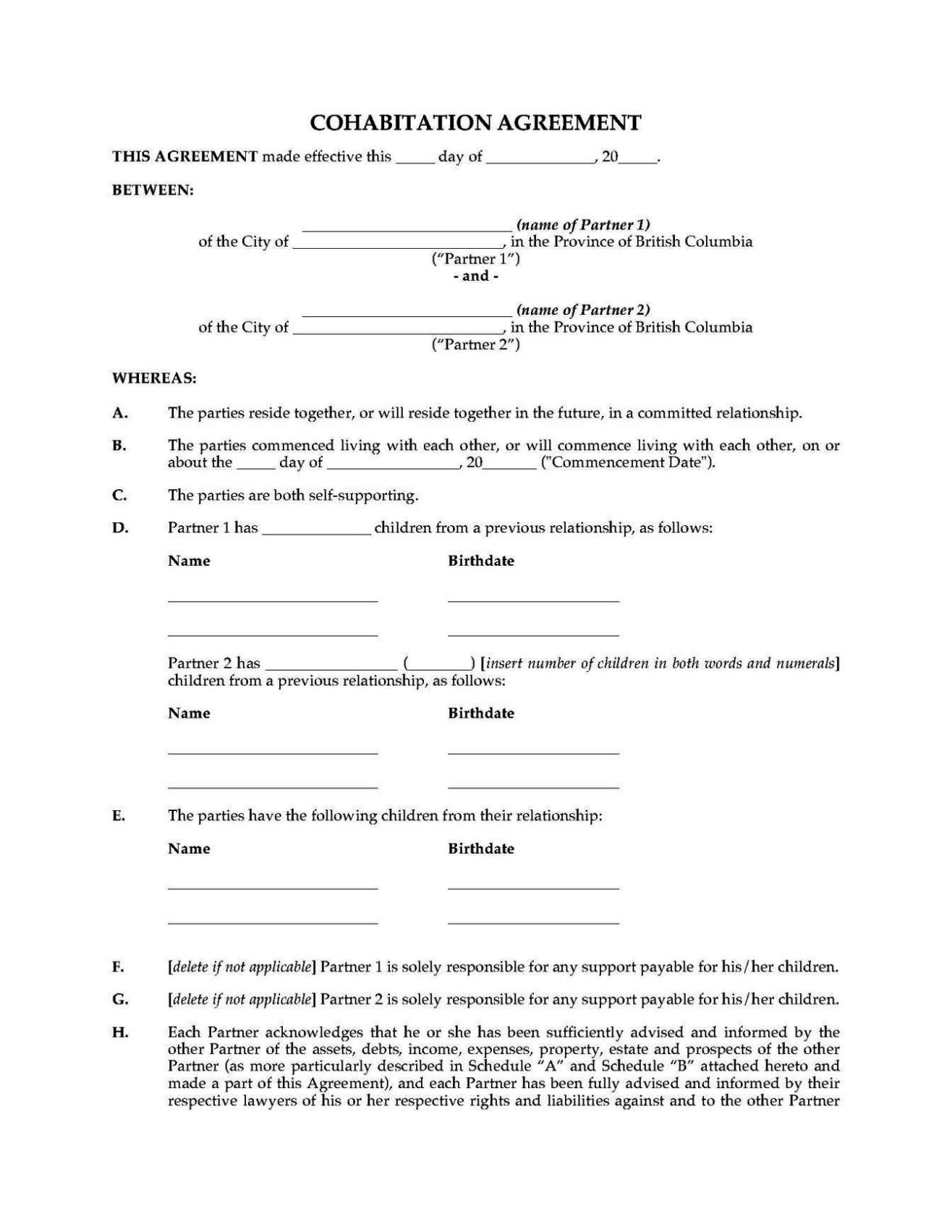 Free Cohabitation Agreement Template Sampletemplatess