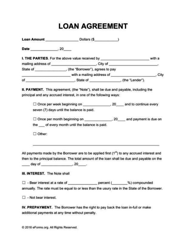 free loan agreement template microsoft