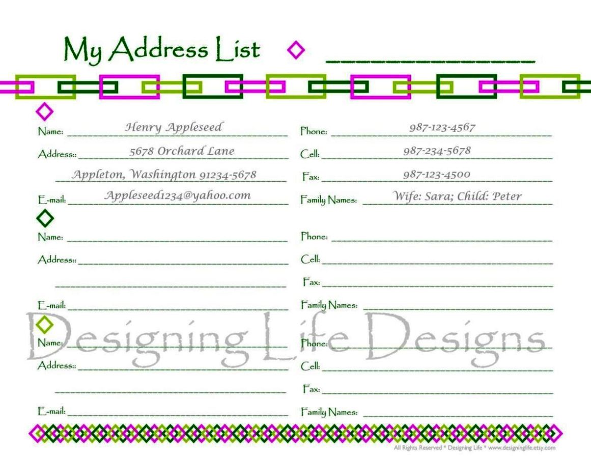 free online address book templates