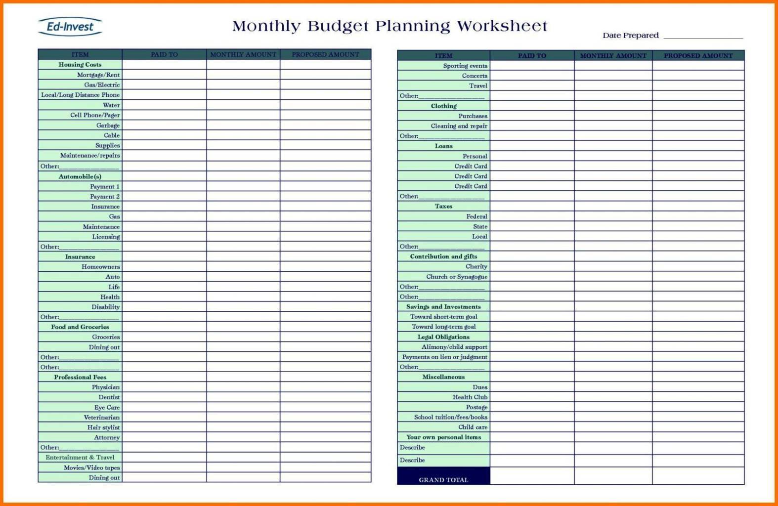free online budget template