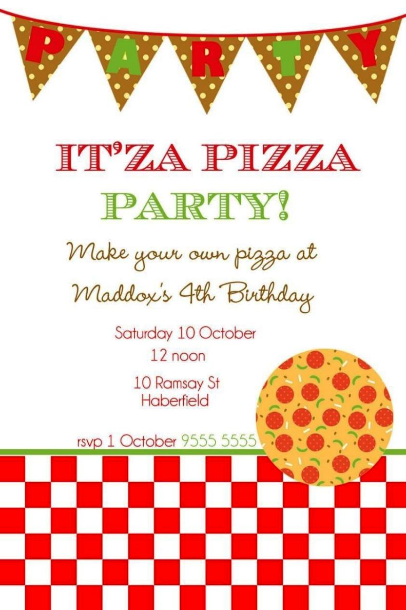 Free-Pizza-Party-Invitation-Template Job Application Checklist Template on for retail, for small businesses, free printable blank, california state, microsoft word free, tracking spreadsheet, child care,