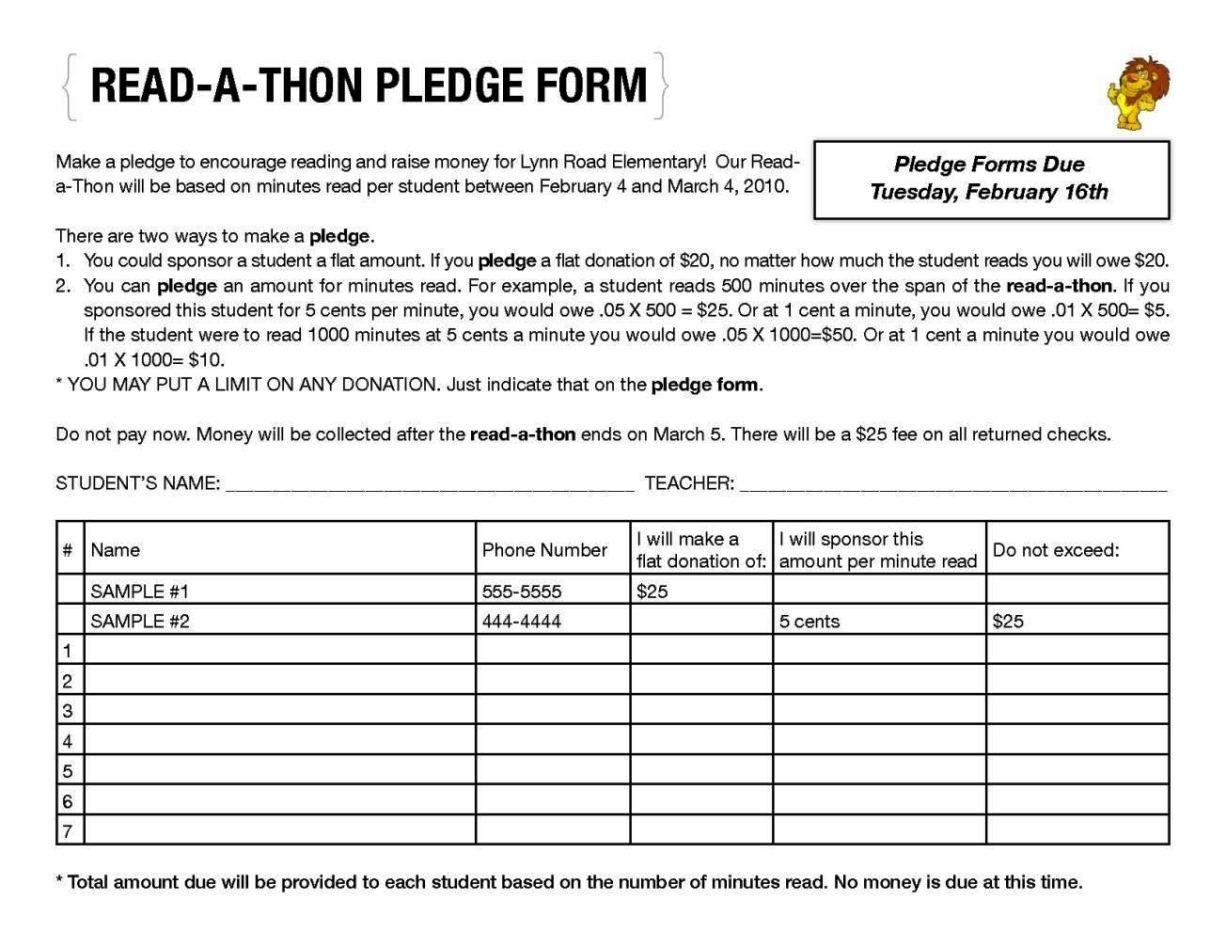 walkathon pledge form template