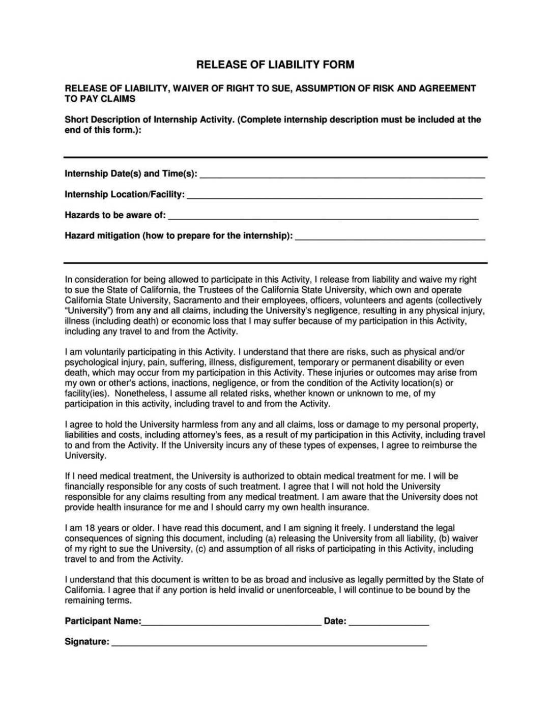 General liability release form template sampletemplatess for Waiver of responsibility template
