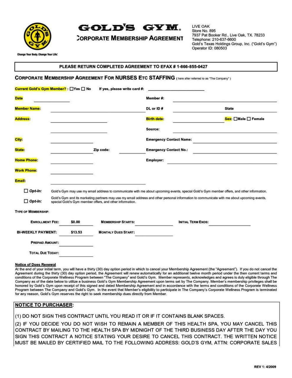 Gym Membership Agreement Template SampleTemplatess