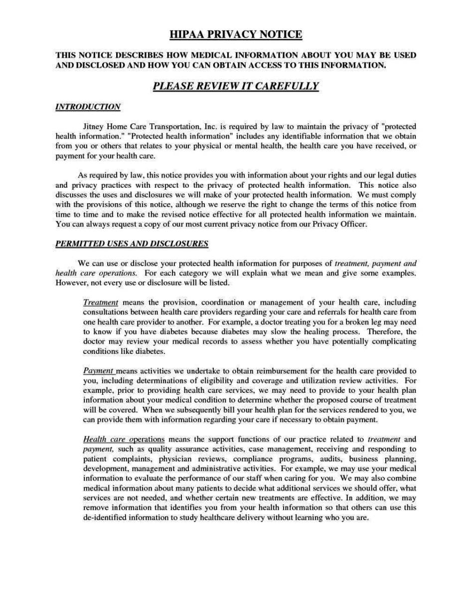 Hipaa Privacy Policy Form Template Sampletemplatess