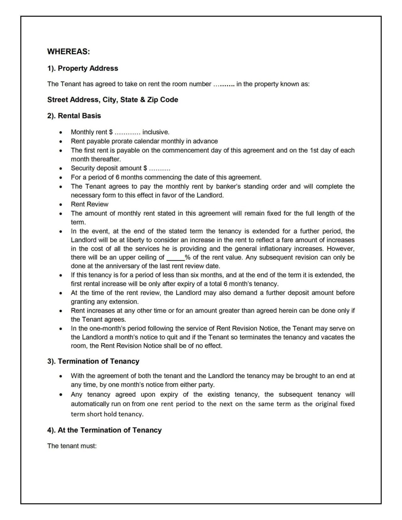House sharing agreement template sampletemplatess for House sharing agreement template