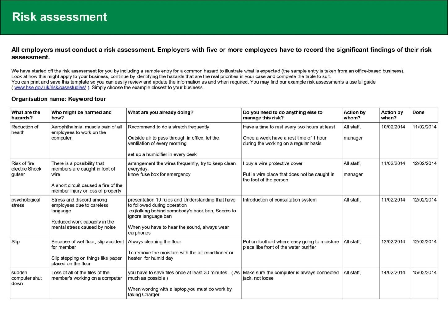 food safety risk assessment template - hse risk assessment templates sampletemplatess