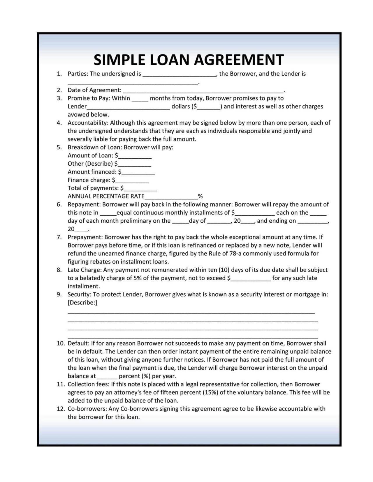 Free Installment Loan Agreement