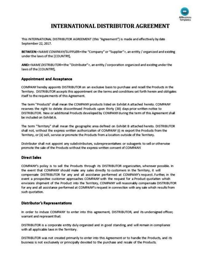 International distribution agreement template for International trade contract template