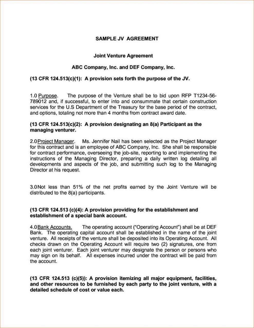 Joint Venture Agreement Template Doc - SampleTemplatess ...
