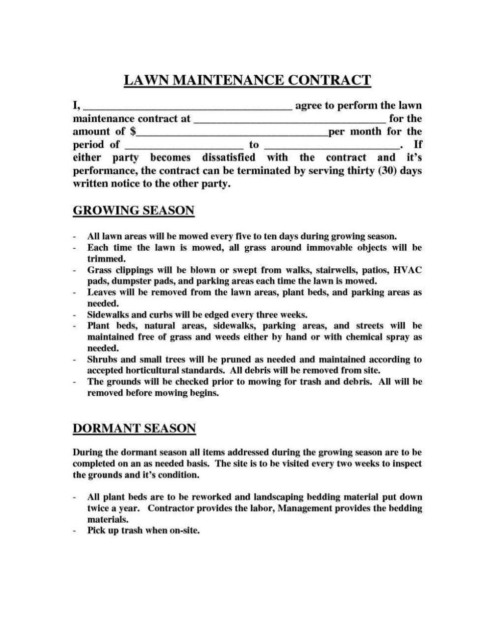 landscape maintenance contract template