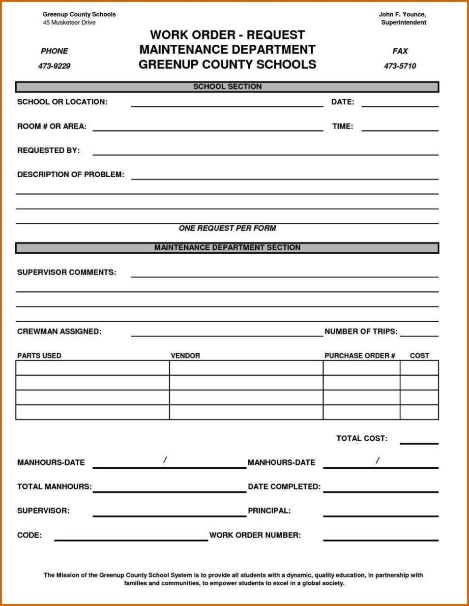 maintenance work order form template sampletemplatess. Black Bedroom Furniture Sets. Home Design Ideas