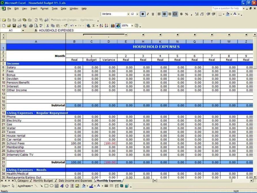 monthly budget template excel 2007 sampletemplatess