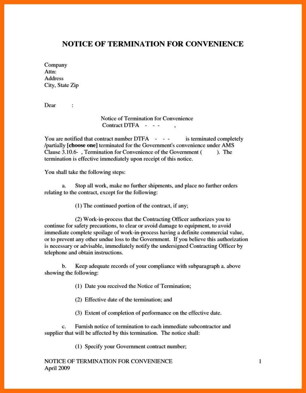 notice of termination of contract template