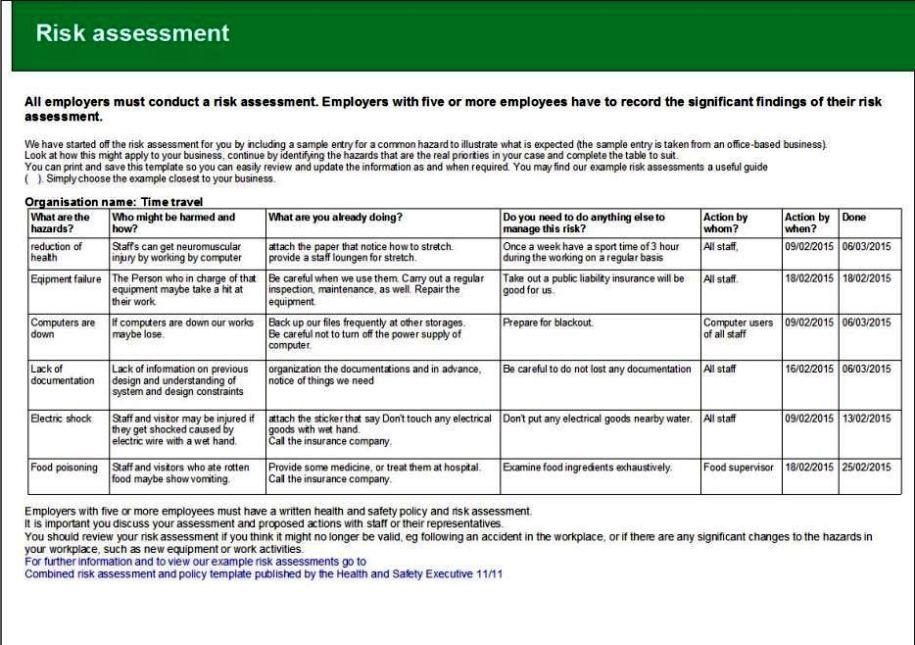 Nursery Risk Assessment Template Sampletemplatess