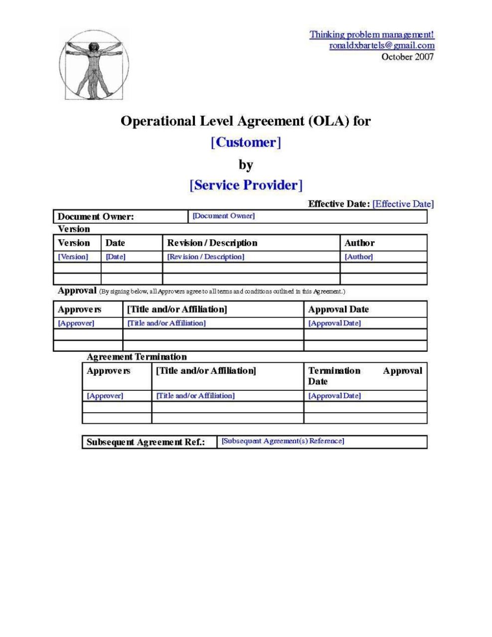 Operating Level Agreement Template SampleTemplatess