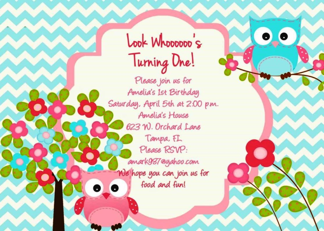 Owl Birthday Invitation Template Sampletemplatess