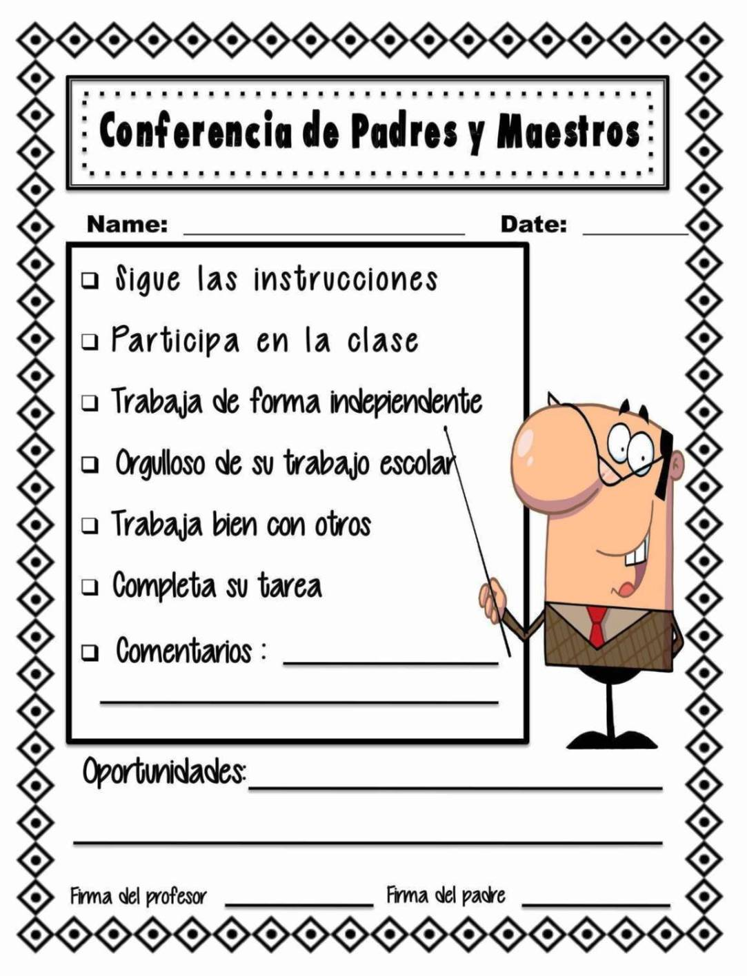 Parent Teacher Conference Form Template