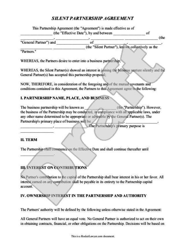 Partner contract template sampletemplatess for Silent partner contract template