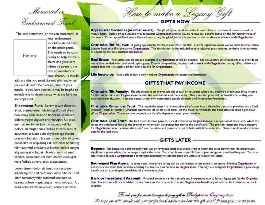 planned giving brochures templates planned giving brochures templates sampletemplatess