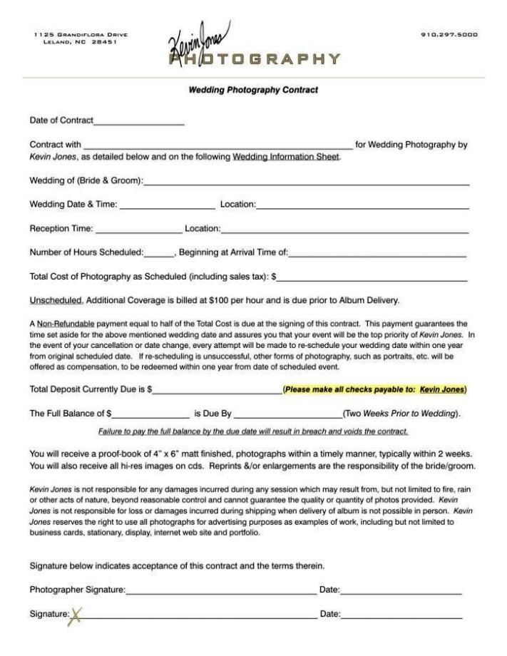 Example Wedding Photography Contract: Portrait Photography Contract Template