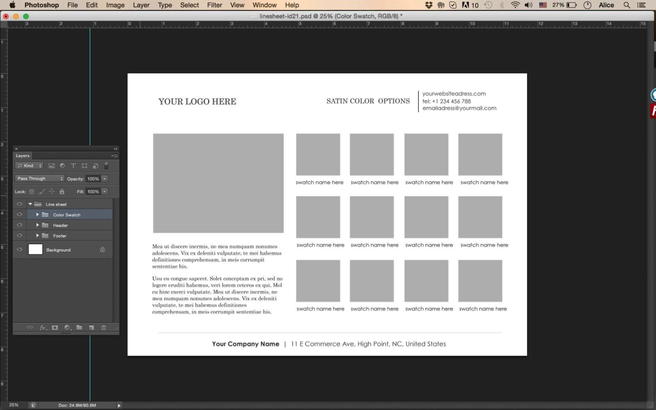 product line sheet template