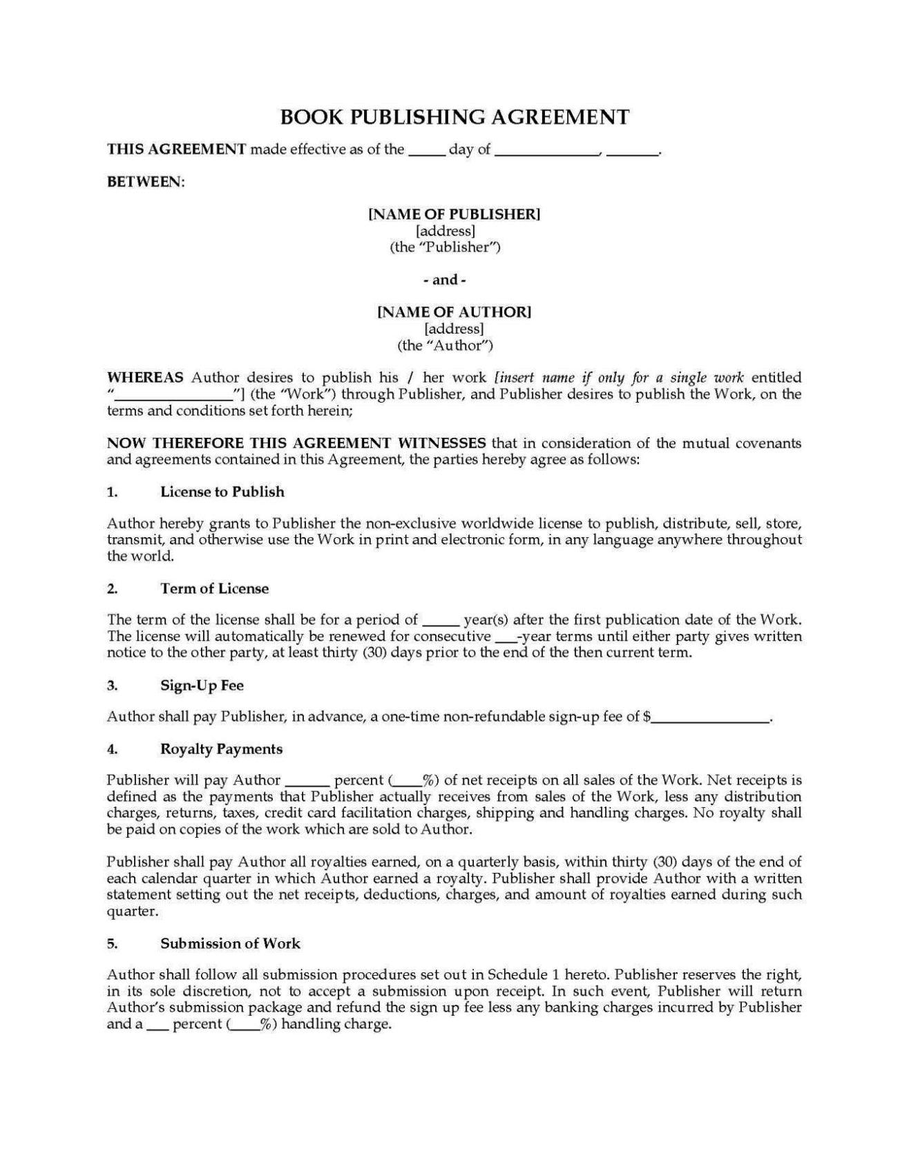 publishing agreement template sampletemplatess sampletemplatess. Black Bedroom Furniture Sets. Home Design Ideas