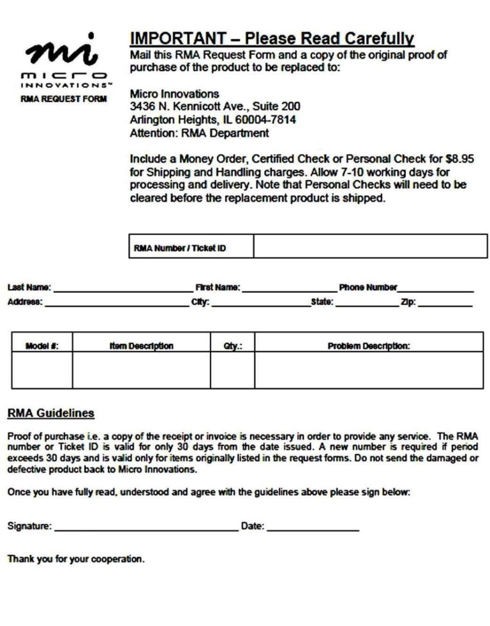 rma request form template - return material authorization form template