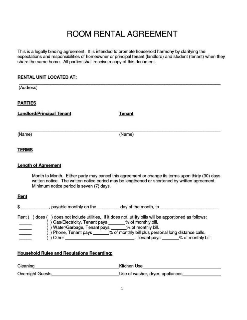 room rental contract